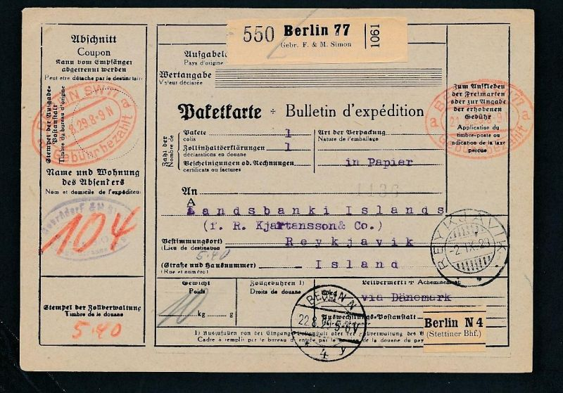 Paketkarte- Ausland /Gebühr bezahlt -netter Beleg....   ( ze6370 )-siehe scan !!