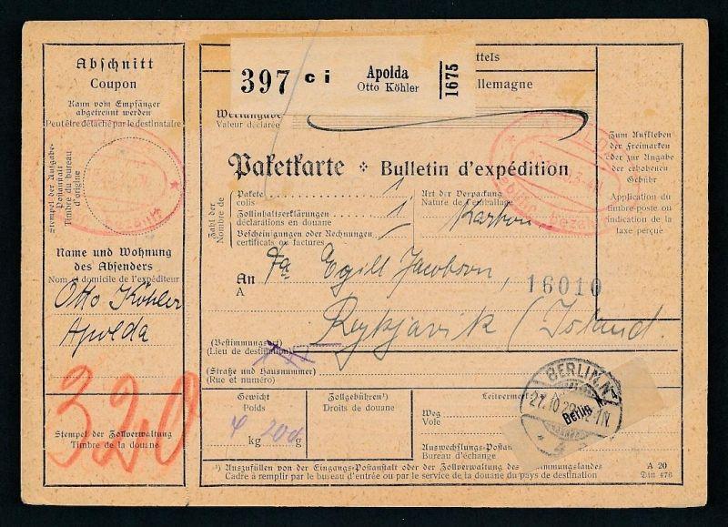Paketkarte- Ausland /Gebühr bezahlt -netter Beleg....   ( ze6371 )-siehe scan !!