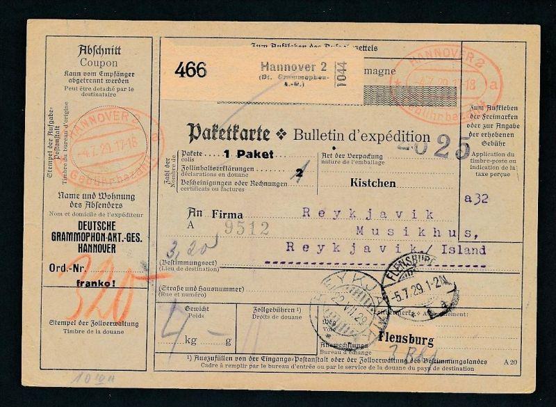 Paketkarte- Ausland /Gebühr bezahlt -netter Beleg....   ( ze6373 )-siehe scan !!