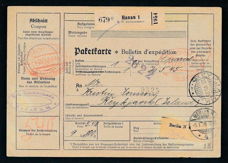 Paketkarte- Ausland /Gebühr bezahlt -netter Beleg....   ( ze6375 )-siehe scan !!