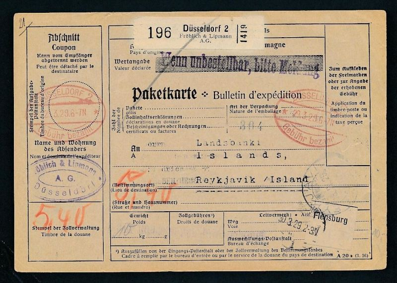 Paketkarte- Ausland /Gebühr bezahlt -netter Beleg....   ( ze6376 )-siehe scan !!