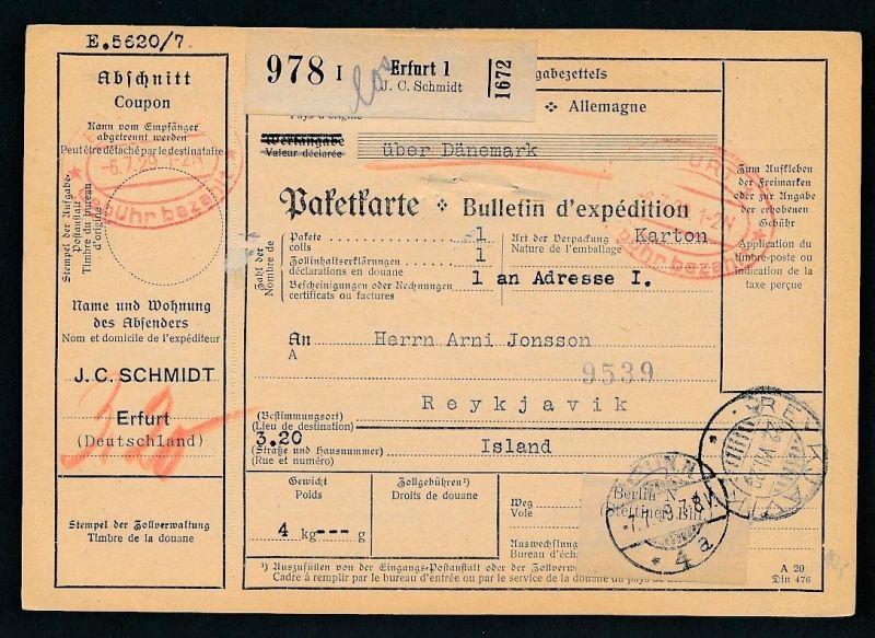 Paketkarte- Ausland /Gebühr bezahlt -netter Beleg....   ( ze6377 )-siehe scan !!