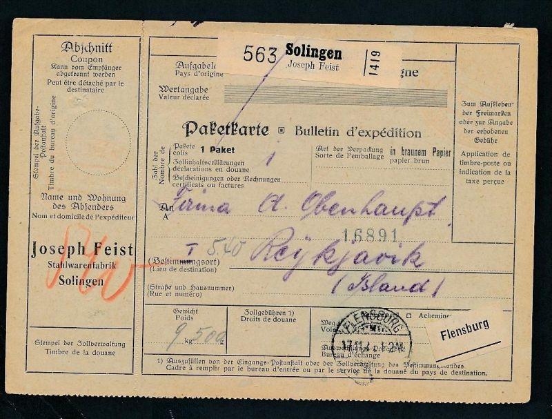 Paketkarte- Ausland /Gebühr bezahlt -netter Beleg....   ( ze6378 )-siehe scan !!
