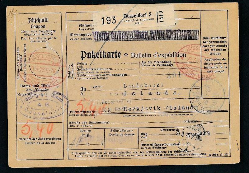 Paketkarte- Ausland /Gebühr bezahlt -netter Beleg....   ( ze6379 )-siehe scan !!