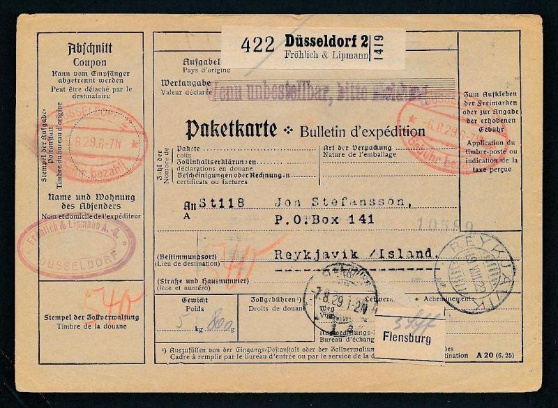 Paketkarte- Ausland /Gebühr bezahlt -netter Beleg....   ( ze6380 )-siehe scan !!