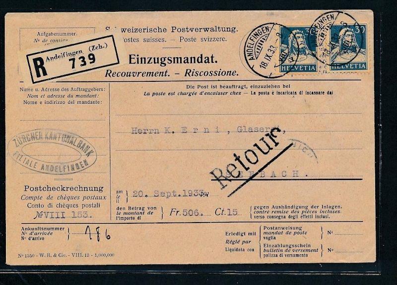 Schweiz Nachnahme -netter Beleg....   ( ze6298  )-siehe scan !!