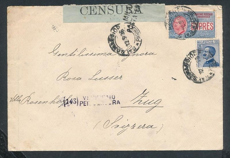 Italien Express/Zensur-Brief -netter Beleg....   ( ze6313  )-siehe scan !!