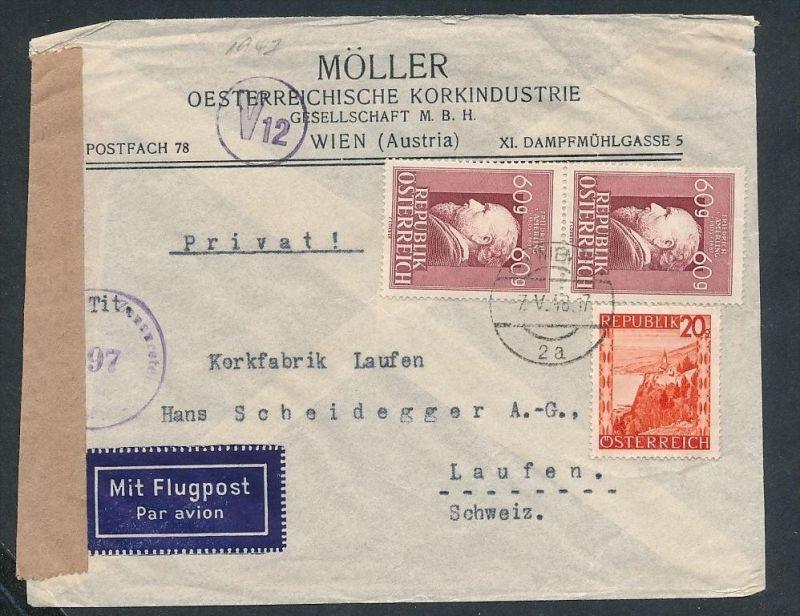 Österreich Luftpost /Zensur     -netter Beleg....   ( ze6278  )-siehe scan !!