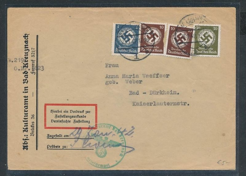 Dienst Brief/Zustellurkunde  -netter Beleg....   ( ze6400  )-siehe scan !!