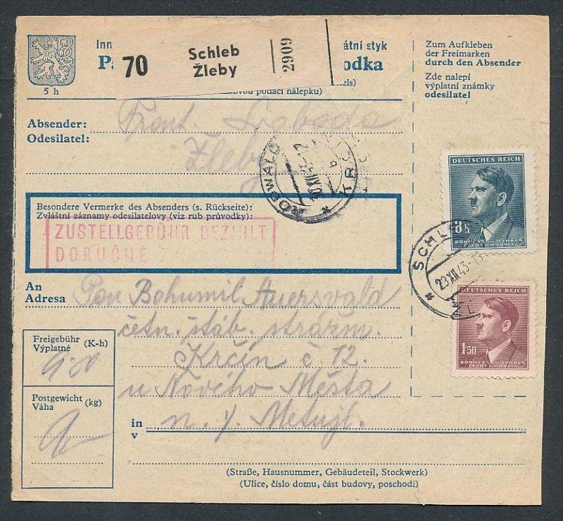 Tschechen Paket Karte  ....-netter Beleg ( ze6504  )-siehe scan !!