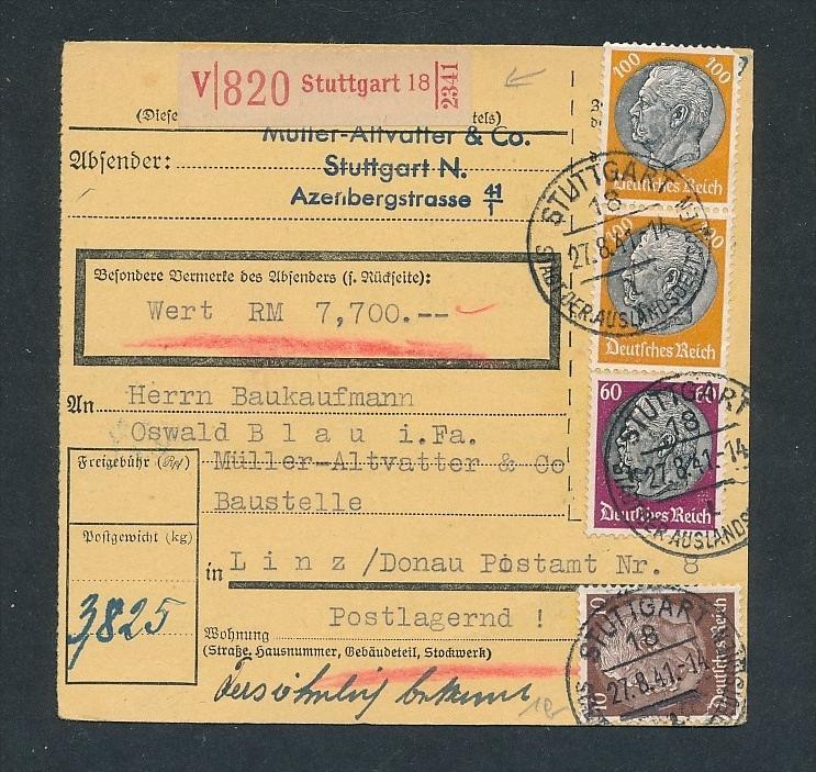 Wert Paket Karte ..... .netter Beleg    ... (t5779 ) siehe Foto