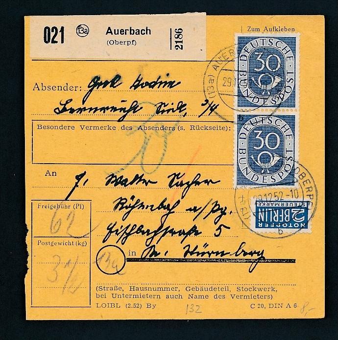Bund Paket Karte   ..-netter Beleg... ( t6029 ) siehe Bild !