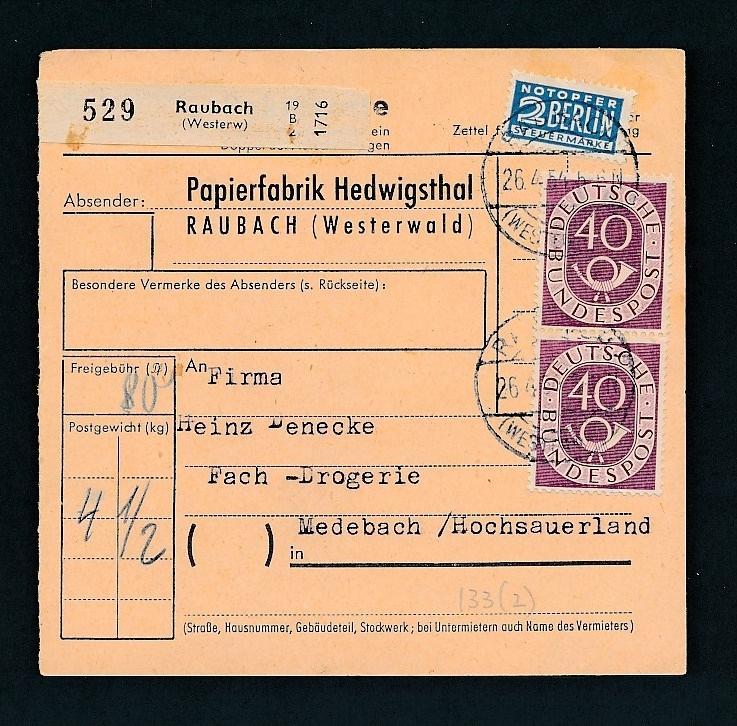 Bund Paket Karte   ..-netter Beleg... ( t6030 ) siehe Bild !