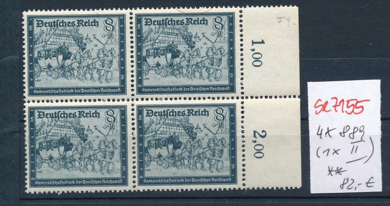 D.-Reich 4x 889 -1x II  **  ( se7155  ) siehe scan !