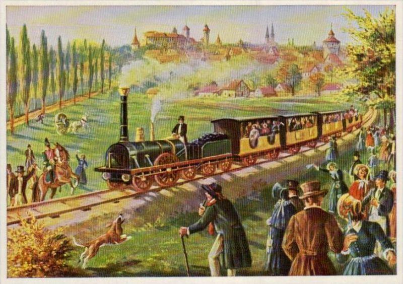 Erste deutsche Eisenbahn  Karte  ( ka991 ) siehe scan !