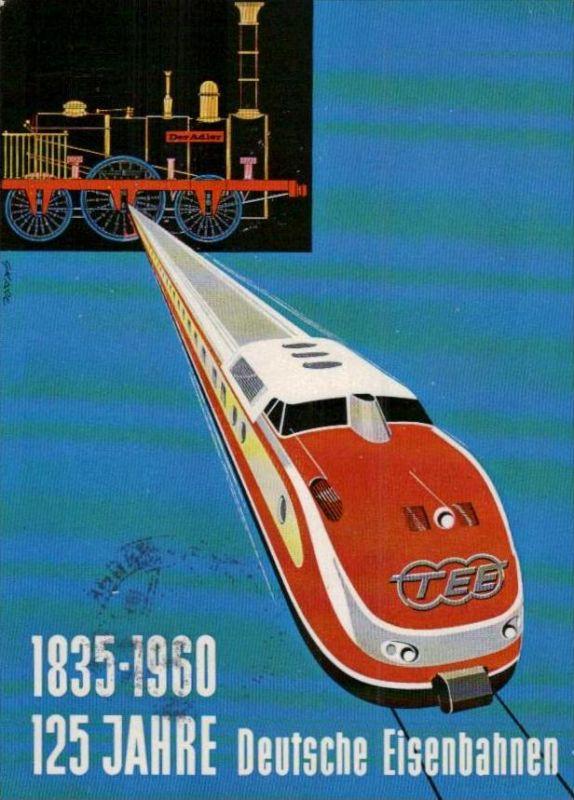 125 Jahre  Eisenbahn  Karte  ( ka945 ) siehe scan !