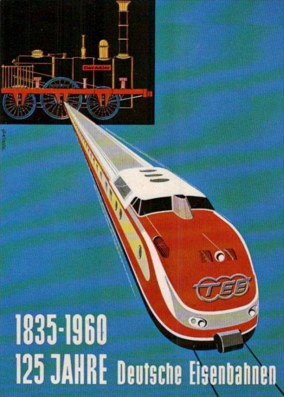 125 Jahre  Eisenbahn  Karte  ( ka947 ) siehe scan !