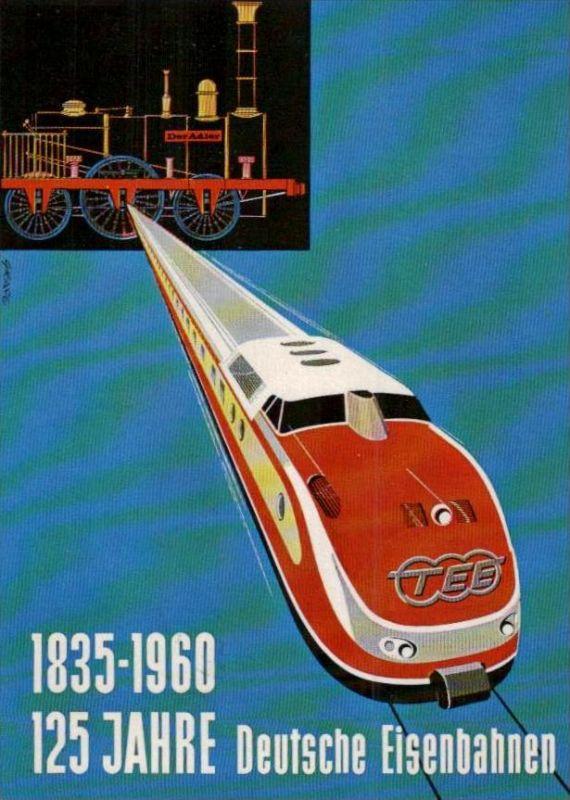 125 Jahre  Eisenbahn  Karte  ( ka949 ) siehe scan !