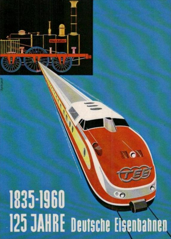 125 Jahre  Eisenbahn  Karte  ( ka951 ) siehe scan !