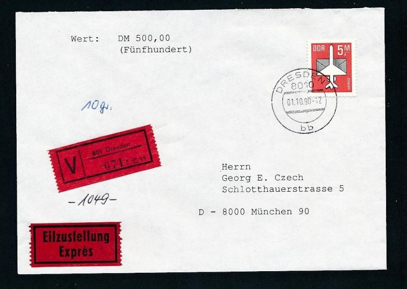 DDR  EF.2967  Wert+Express Brief 1990   ( t9020 ) siehe scan !