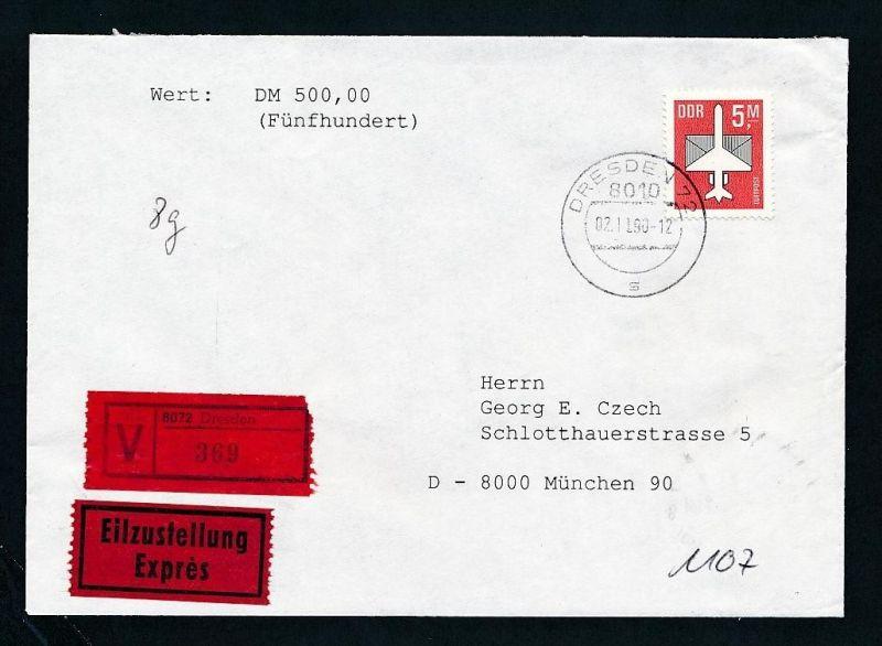 DDR  EF.2967  Wert+Express Brief 1990   ( t9021 ) siehe scan !