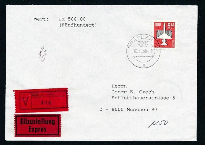 DDR  EF.2967  Wert+Express Brief 1990   ( t9022 ) siehe scan !