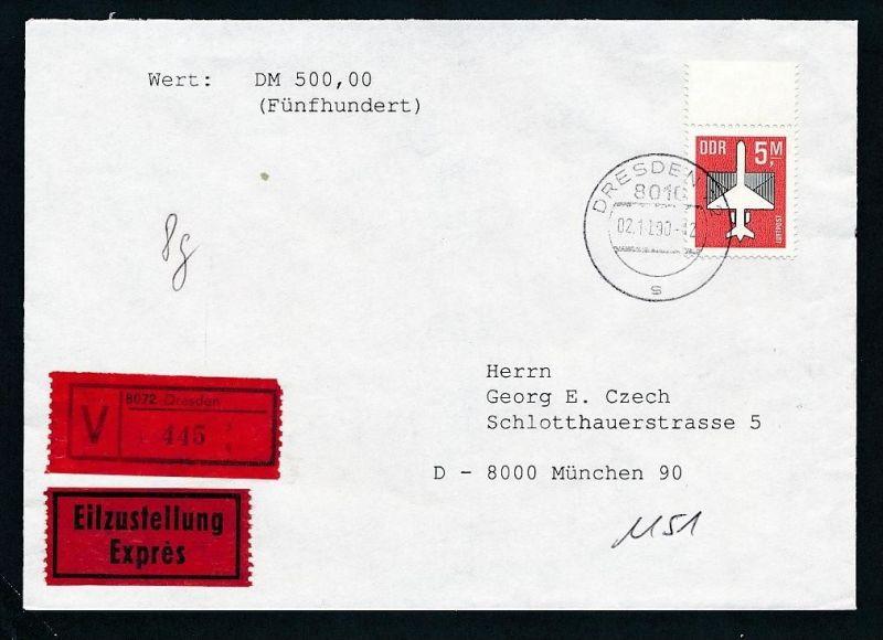 DDR  EF.2967  Wert+Express Brief 1990   ( t9023 ) siehe scan !