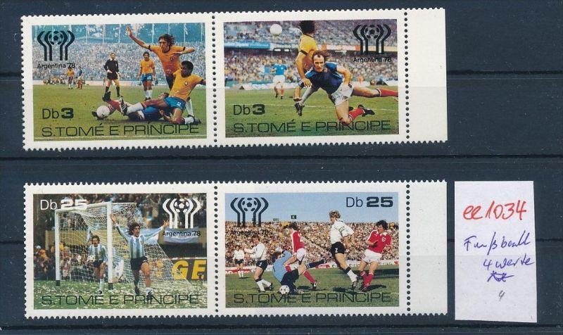 Fußball 4 Werte  S.Tome  **  ( ee1034 ) siehe scan !