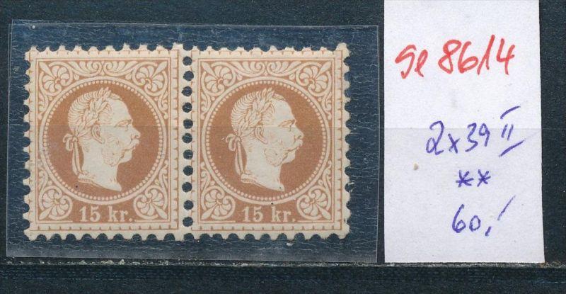 Österreich Nr. 2x 39 II **   (se8614 ) siehe Bild