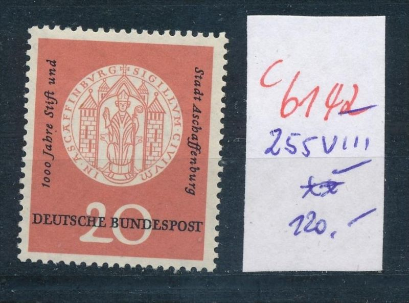 BRD  Nr.  255  VIII  **  (c  6142 ) -siehe Bild