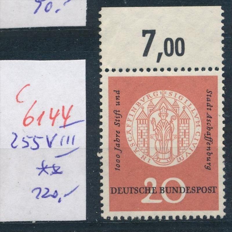 BRD  Nr.  255  VIII  **  (c  6144 ) -siehe Bild