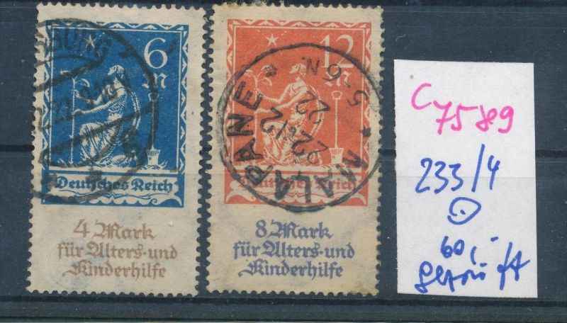 D.-Reich Nr.  233-34  geprüft   o (c 7589 ) siehe scan