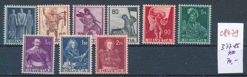 Schweiz   Nr. 377-85  ** (c8479  ) siehe scan