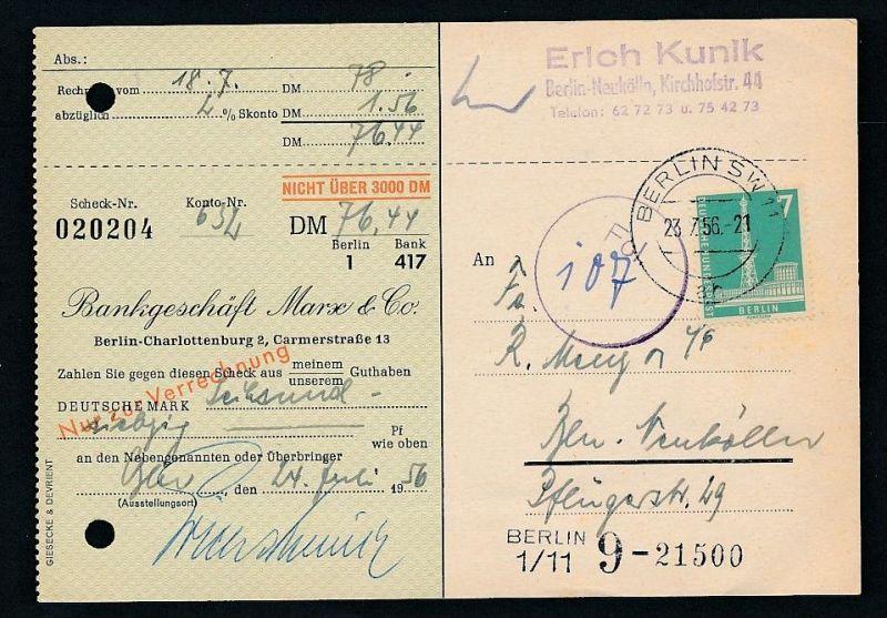 Berlin  Postscheck Karte   .(t5106  ) siehe scan