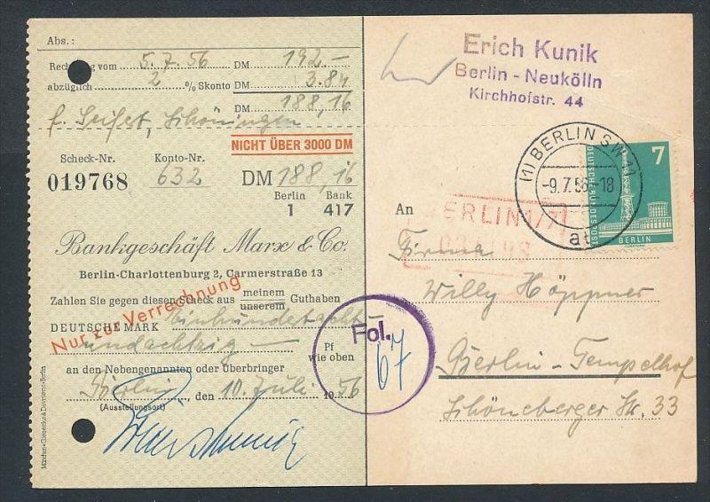 Berlin  Postscheck Karte   .(t5105  ) siehe scan