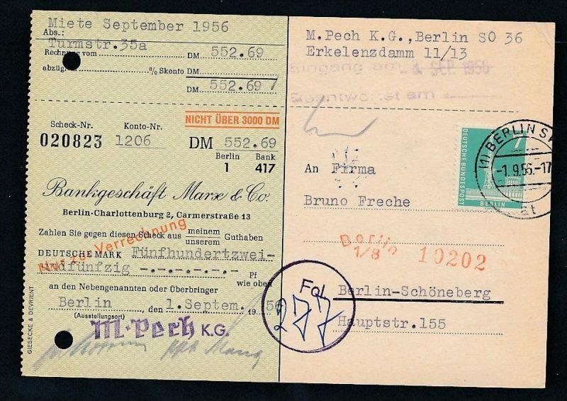 Berlin  Postscheck Karte   .(t5100  ) siehe scan