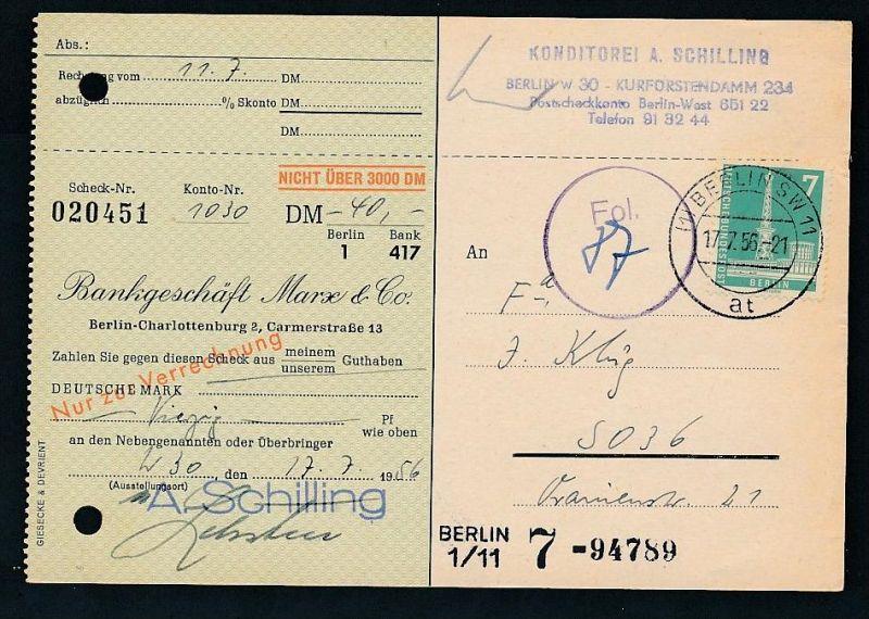 Berlin  Postscheck Karte   .(t5099  ) siehe scan
