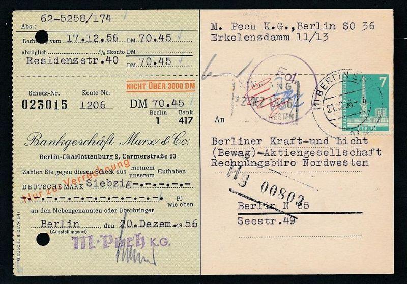 Berlin  Postscheck Karte   .(t5092  ) siehe scan
