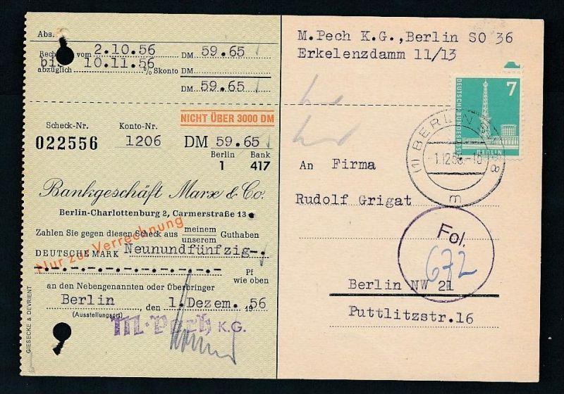 Berlin  Postscheck Karte   .(t5091  ) siehe scan
