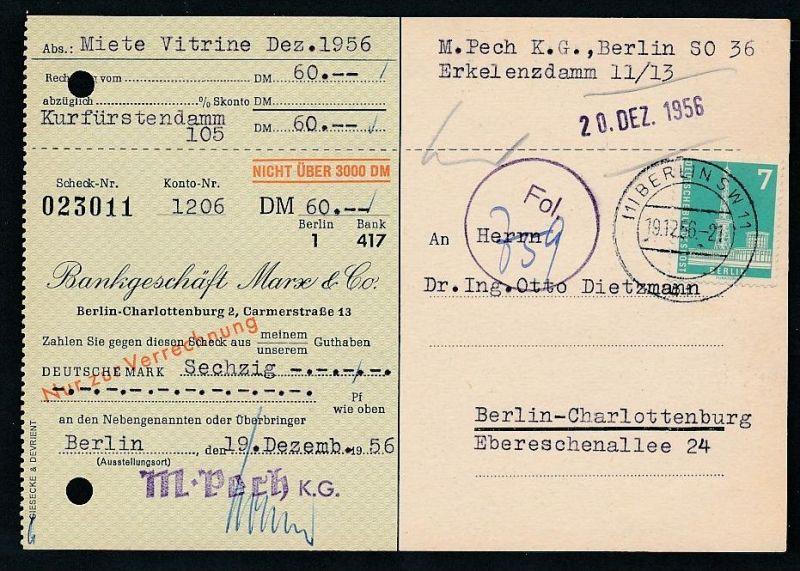 Berlin  Postscheck Karte   .(t5084  ) siehe scan