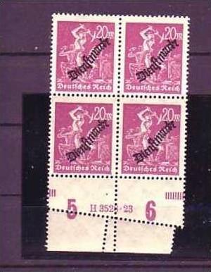 D.-Reich Nr. Dienst 75  /4er Block HAN  verzahnt * *(b4398 ) siehe Bild