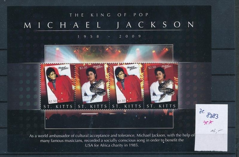 Musik-Michael Jackson-    Block - St Kitts **  (ze8383  ) siehe scan