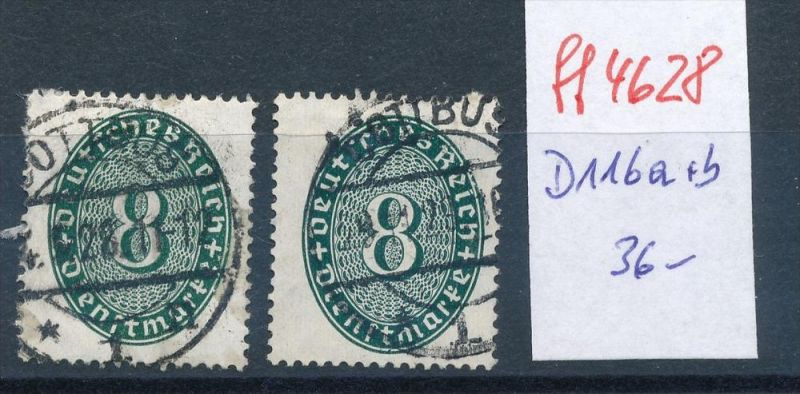 D.-Reich Nr.  Dienst  116 a+b     o   ( ff4628 ) siehe scan  !