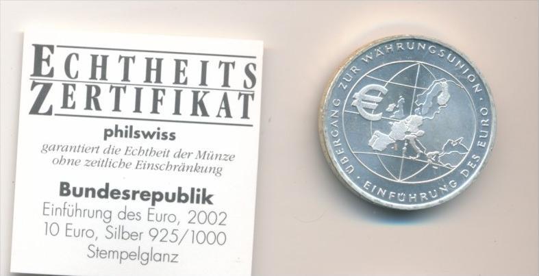 BRD  10,- Euro -Silber  2002 F  Einführung Euro  /unc. (x1639 )