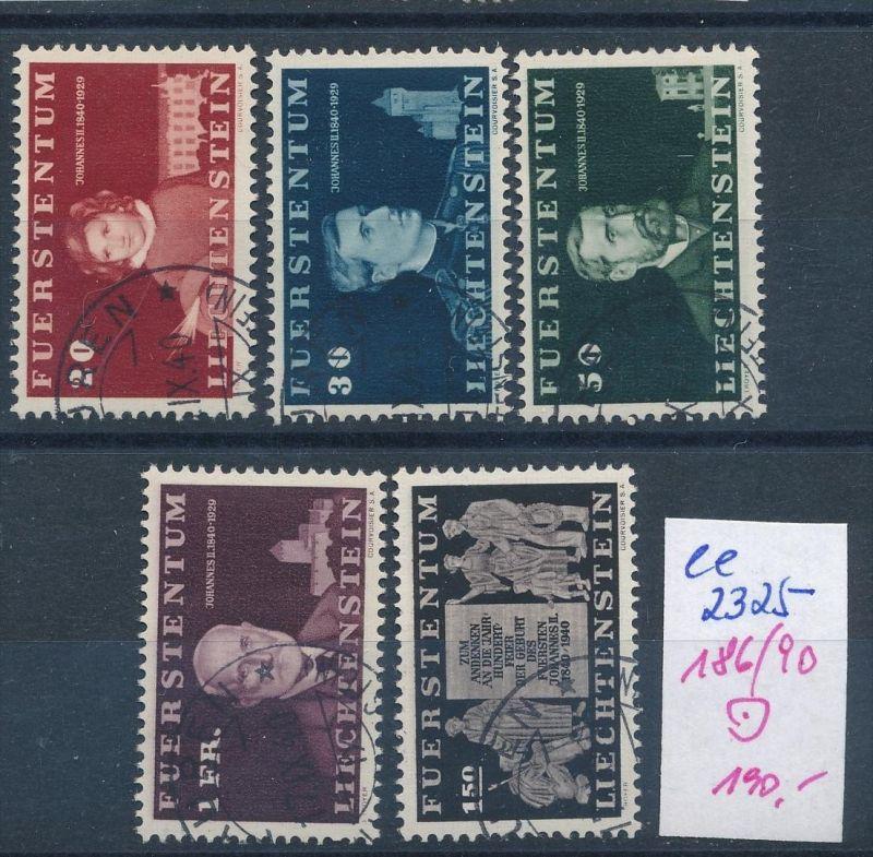 Liechtenstein Nr. 186-90  o ( ee2325 ) siehe scan