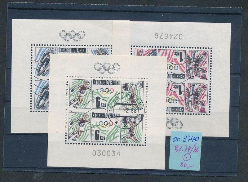 Tschechen Block   74-76   o  ( oo3740 ) siehe scan !