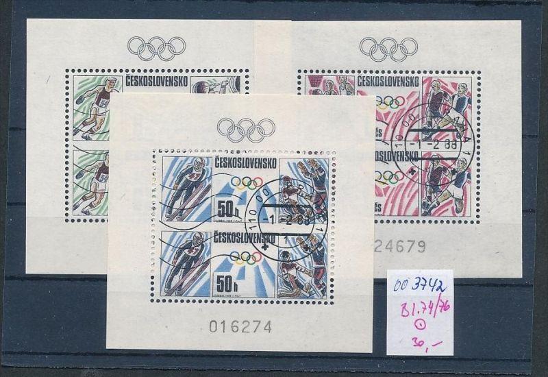 Tschechen Block   74-76   o  ( oo3742 ) siehe scan !