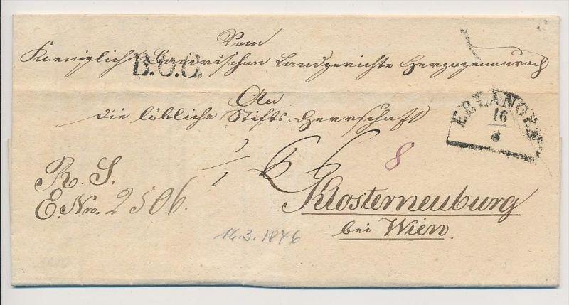 Bayern-  Erlangen > Österreich    uralter Beleg....  (g1664     ) siehe scan....