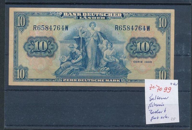 BRD alter 10,-DM Schein  1949 gebraucht -gut erhalten selten (ze7099  ) siehe scan !!
