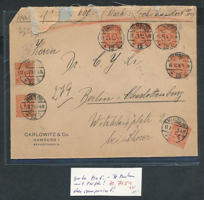 D.-Reich  ramponierter Wert Brief  Perfin  MEF.....  ( ze 7451 ) siehe scan !